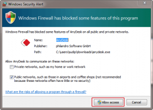 AnyDesk Windows-Firewall
