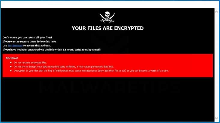 Ransomware-meddelande